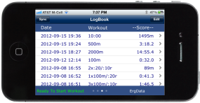 Screen showing log of workouts